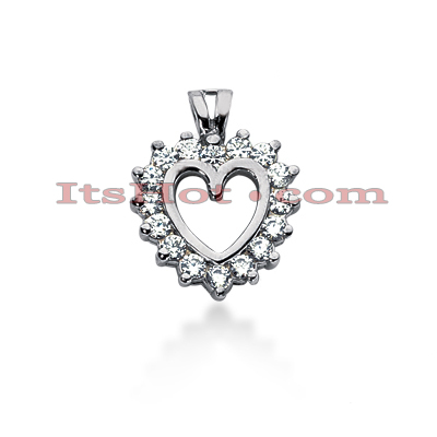 14k Gold Round Diamond Heart Pendant 0.48ct Main Image