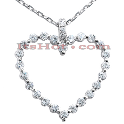14k Gold Round Diamond Heart Pendant 0.50ct
