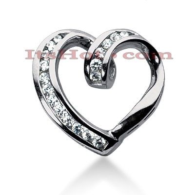 14k Gold Round Diamond Heart Pendant 0.58ct Main Image