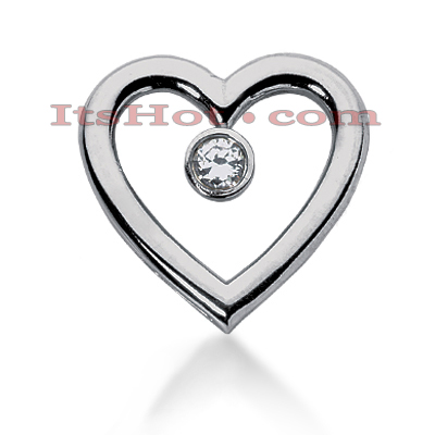 14k Gold Round Diamond Heart Pendant 0.60ct Main Image
