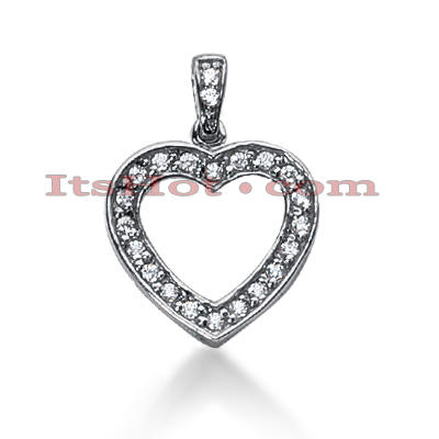 14k Gold Round Diamond Heart Pendant 0.62ct Main Image