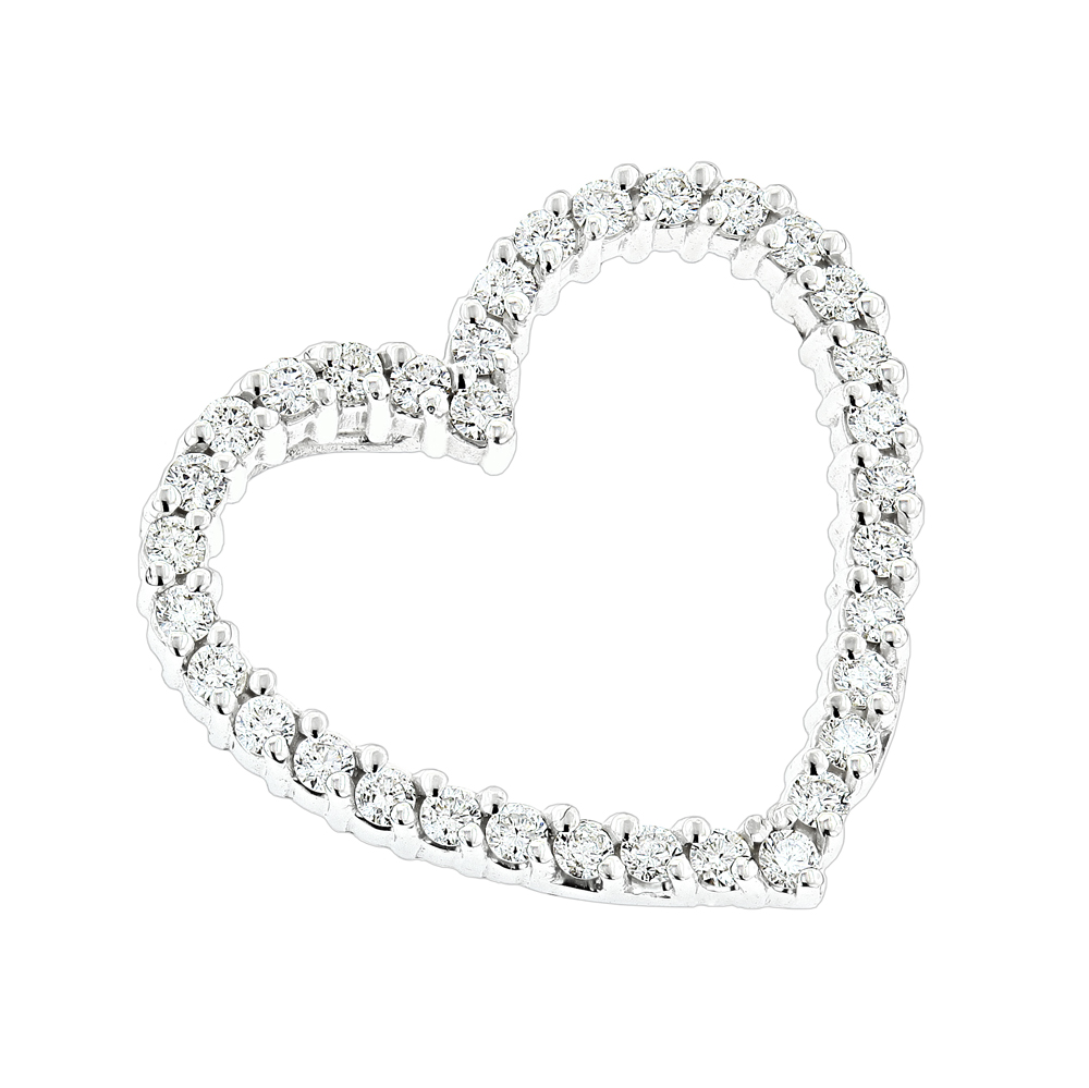 14k Gold Round Diamond Heart Pendant 0.68ct White Image