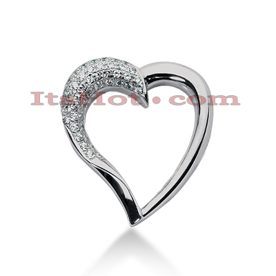 14k Gold Round Diamond Heart Pendant 0.72ct Main Image