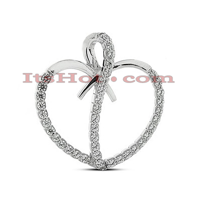 14k Gold Round Diamond Heart Pendant 0.80ct Main Image