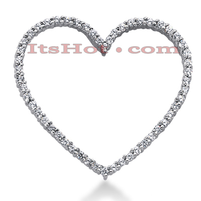 14k Gold Round Diamond Heart Pendant 0.81ct Main Image
