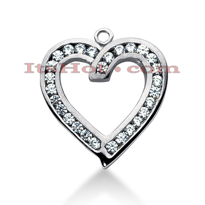 14k Gold Round Diamond Heart Pendant 0.90ct Main Image