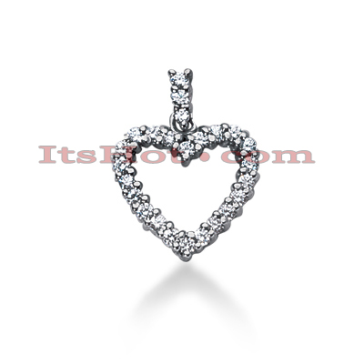 14k Gold Round Diamond Heart Pendant 1.26ct Main Image