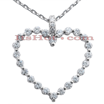 14k Gold Round Diamond Heart Pendant 1.28ct Main Image