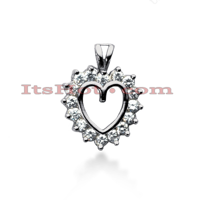14k Gold Round Diamond Heart Pendant 1.44ct Main Image