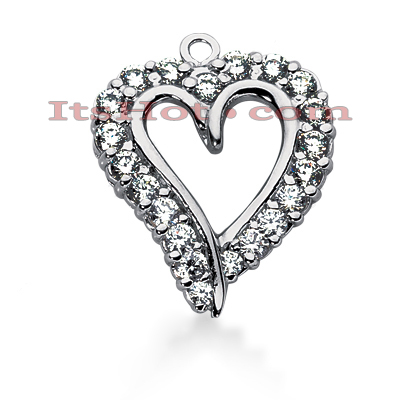 14k Gold Round Diamond Heart Pendant 1.60ct Main Image