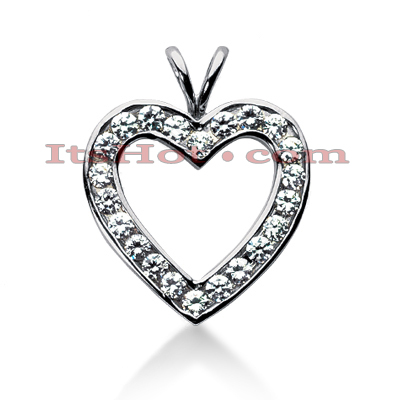 14k Gold Round Diamond Heart Pendant 1.98ct Main Image