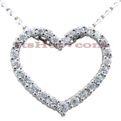 14k Gold Round Diamond Heart Pendant 1ct 23mm Main Image
