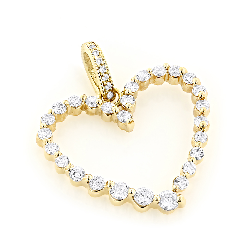 14k Gold Round Diamond Heart Pendant 1ct Yellow Image