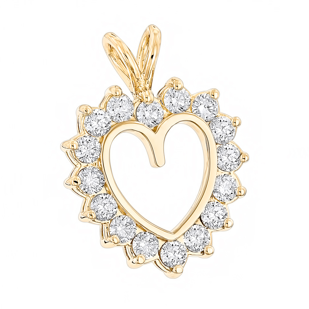 14k Gold Round Diamond Heart Pendant for Women 2.4ct Open Heart Design Yellow Image