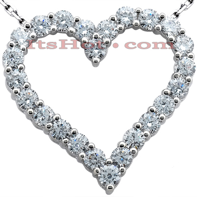 14k Gold Round Diamond Heart Pendant 3.60ct Main Image