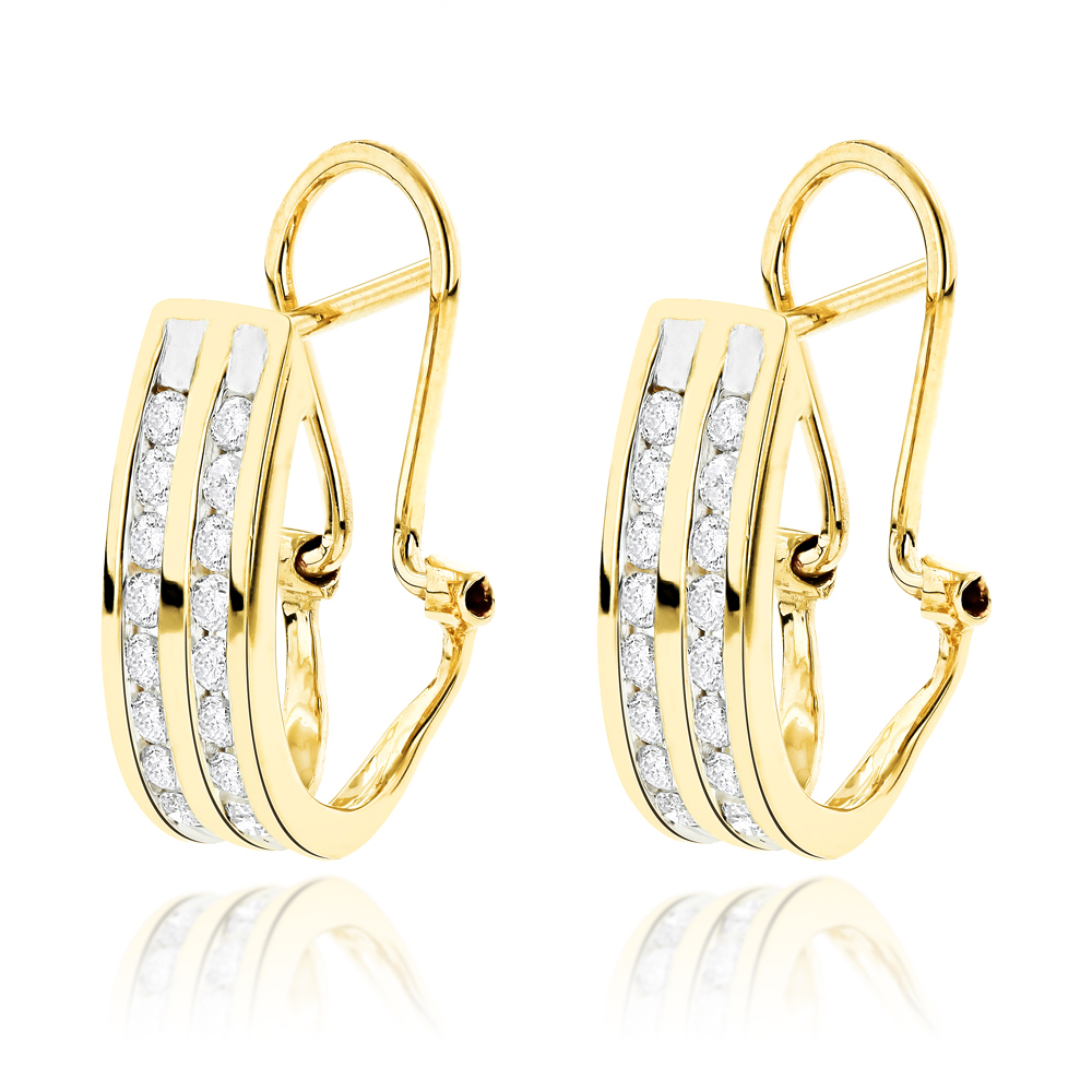 14K Gold Round Diamond Hoop Earrings 0.63ct Yellow Image
