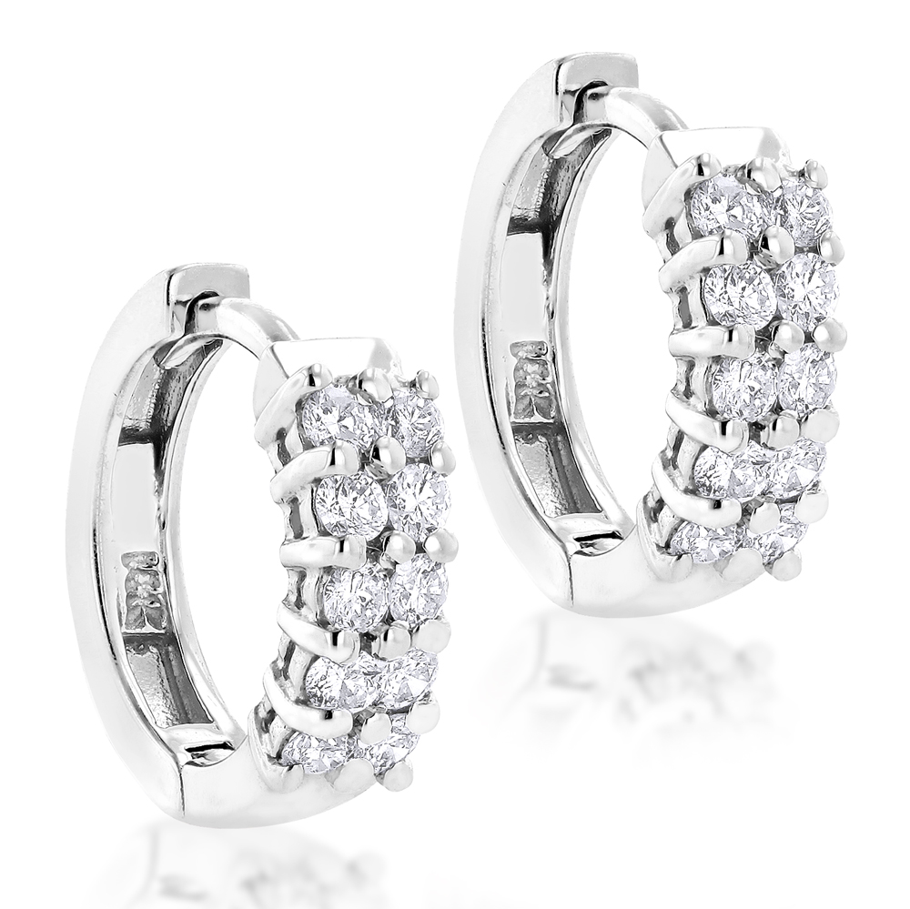 14K Gold Round Diamond Huggie Earrings 0.44ct White Image