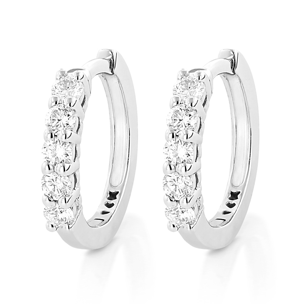 14K Gold Round Diamond Huggie Earrings Hoops 0.33ct White Image