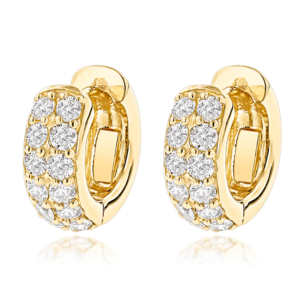 14K Gold Round Diamond Huggie Earrings Hoops 0.62ct Yellow Image
