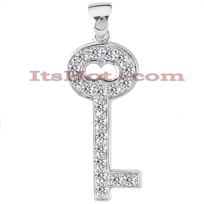 14K Gold Round Diamond Key Pendant 0.10ct Main Image