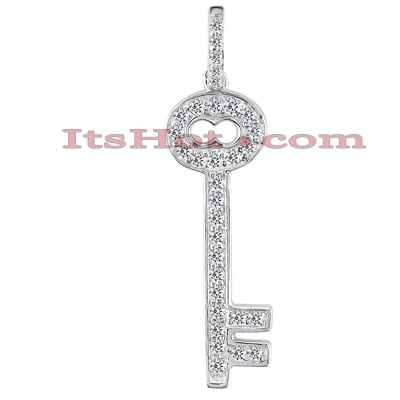 14K Gold Round Diamond Key Pendant 0.38ct Main Image