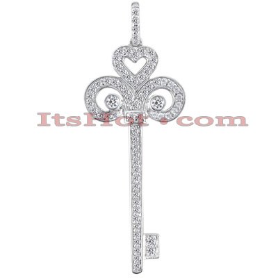 14K Gold Round diamond Key Pendant 0.87ct Main Image