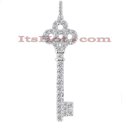 14K Gold Round Diamond Key Pendant 0.91ct