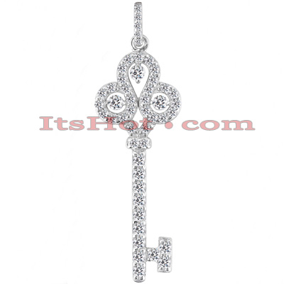 14K Gold Round Diamond Key Pendant 1.57ct
