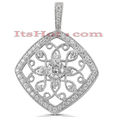14K Gold Round Diamond Kite Pendant 0.71ct Main Image