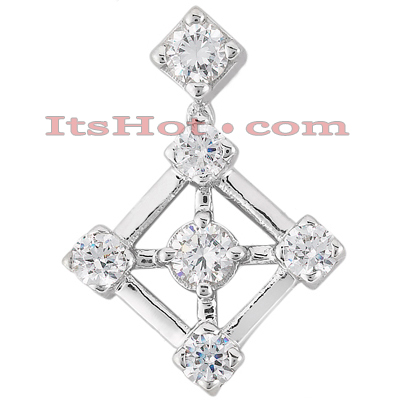 14K Gold Round Diamond Kite Pendant 1ct Main Image