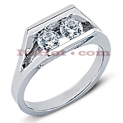 Thin 14K Gold Round Diamond Ladies Ring 0.50ct Main Image