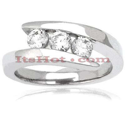 Thin 14K Gold Round Diamond Ladies Ring 0.60ct Main Image