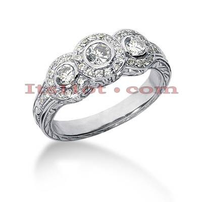 14K Gold Round Diamond Ladies Ring 0.84ct Main Image