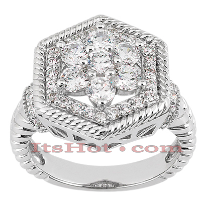 14K Gold Round Diamond Ladies Ring 1.21ct