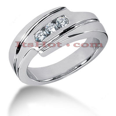 14K Gold Round Diamond Mens Wedding Ring 0.30ct Main Image