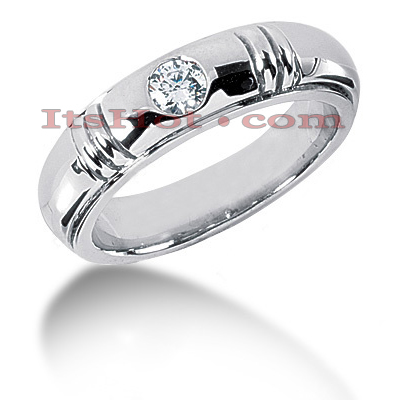 14K Gold Round Diamond Men's Wedding Ring 0.40ct Main Image