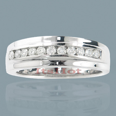 14K Gold Round Diamond Men's Wedding Ring 0.50ct Main Image