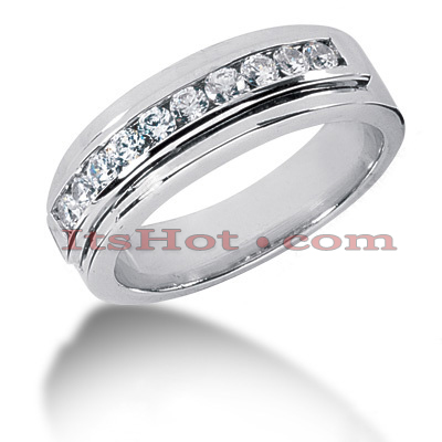 14K Gold Round Diamond Men's Wedding Ring 0.60ct 6.7mm Main Image