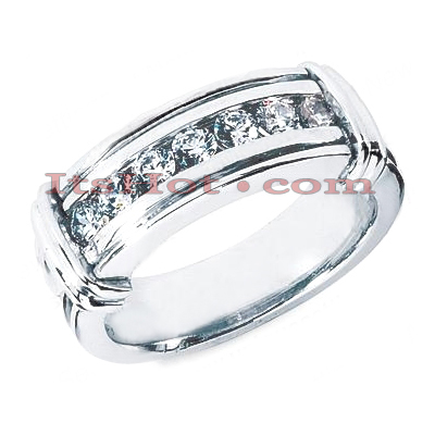 14K Gold Round Diamond Men's Wedding Ring 0.70ct Main Image