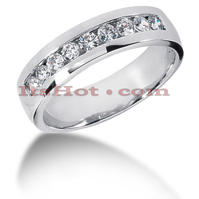 14K Gold Round Diamond Men's Wedding Ring 0.81ct