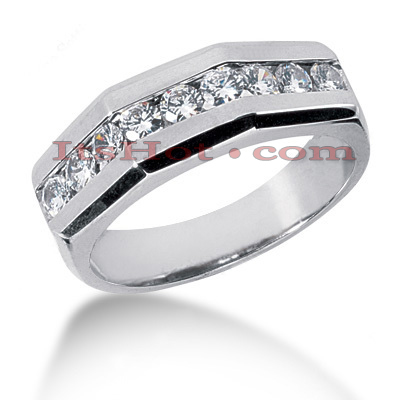 14K Gold Round Diamond Men's Wedding Ring 0.90ct Main Image