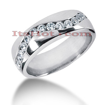 14K Gold Round Diamond Mens Wedding Ring 0.90ct Main Image