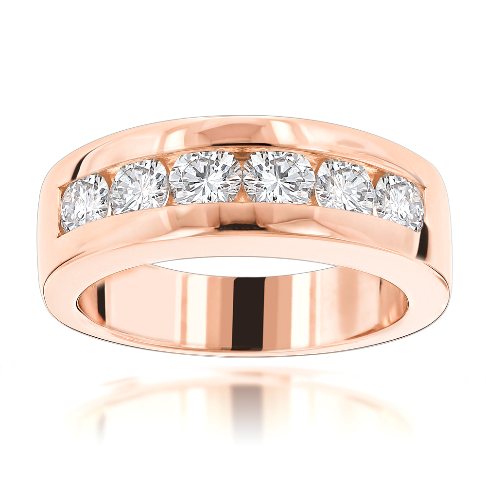 14K Gold Round Diamond Mens Wedding Band 6 Stone Anniversary Ring 1.5ct Rose Image