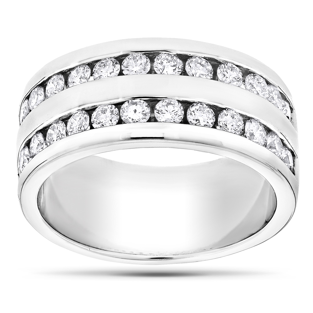 14K Gold Round Diamond Men's Wedding Ring 2.08ct White Image