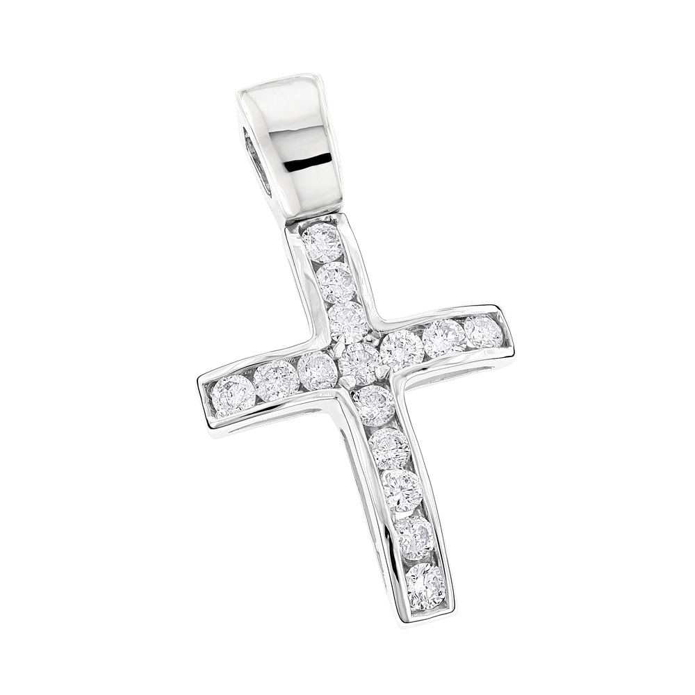 14K Gold Round Diamond Mini Cross Pendant 0.85ct White Image