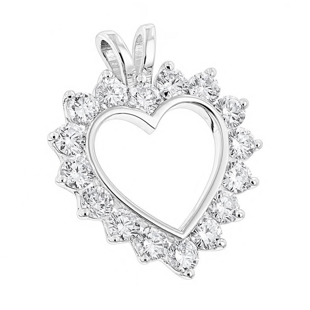 14K Gold  Round Diamond Open Heart Pendant for Women 1.9ct White Image