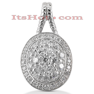 14K Gold Round Diamond Oval Pendant 1.67ct Main Image