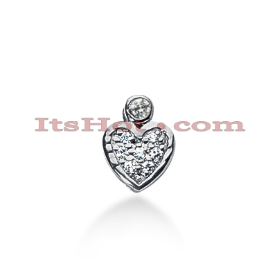 14k Gold Round Diamond Pave Heart Pendant 0.15ct