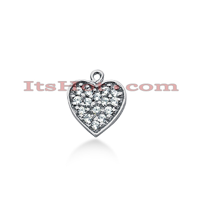 14k Gold Round Diamond Pave Heart Pendant 0.22ct Main Image