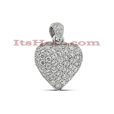 Small 14k Gold Round Diamond Pave Heart Pendant for Women 0.33ct